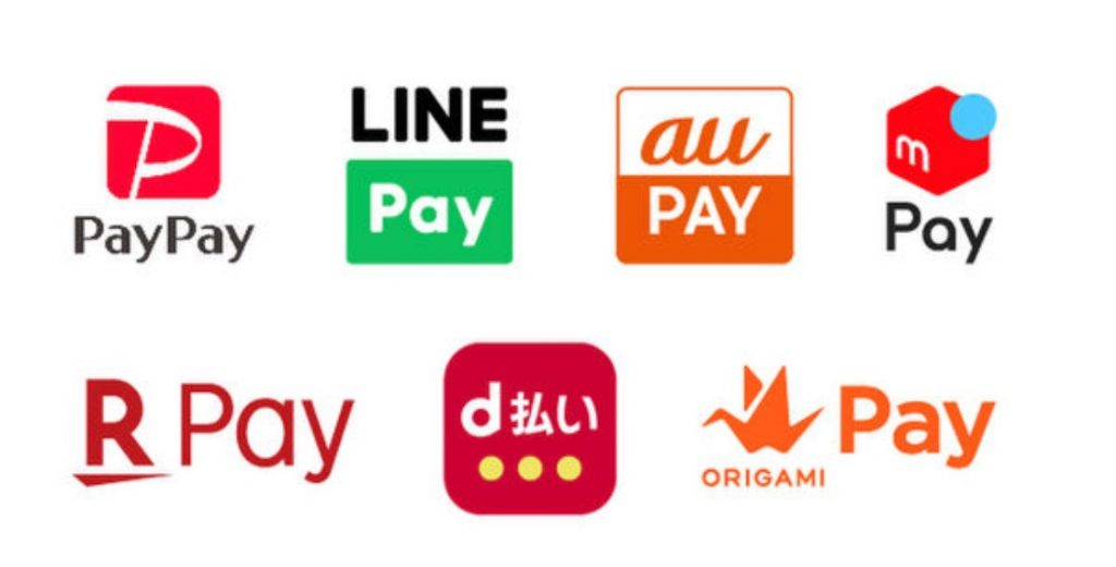 PayPay、LINE Pay、au PAY、メルペイ、楽天ペイ(アプリ決済)、d払い(R)、Origami Pay