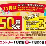 d払いの11月買物ラリーはスーパー、ドラッグストアなどで最大50%還元!