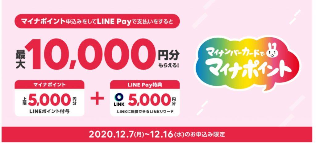 第3弾!LINE Payで「マイナポイント」を申込むと5,000円相当の「LINKリワード」を追加プレゼント!