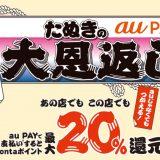 au PAY「たぬきの大恩返し」3月はスーパーやドラッグストアなどで20%還元!