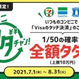 三井住友カードがコンビニで「Visaのタッチ決済」を利用すると抽選で全額還元になるキャンペーンを開催中!