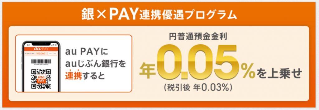 au PAYにauじぶん銀行を連携させると金利が0.05%アップ!